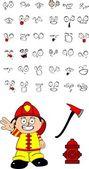 Firefighter kid cartoon set2 — Stock Vector