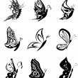 Butterfly tattoo set pack stickers — Stock Vector #56019627
