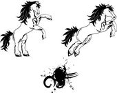 Horse  tattoo set — Vector de stock