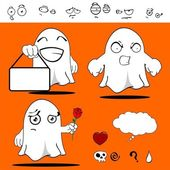 Ghost funny cartoon set11 — Stockvector
