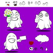 Ghost funny cartoon set0 — Stockvector