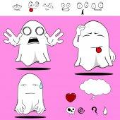 Ghost funny cartoon set9 — Vecteur