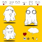 Ghost funny cartoon set7 — Stockvector