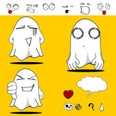Ghost funny cartoon set7 — Vector de stock