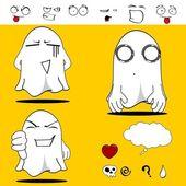 Ghost funny cartoon set5 — Vecteur