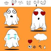 Ghost funny cartoon set3 — Vector de stock