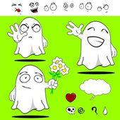 Ghost funny cartoon set — Vecteur