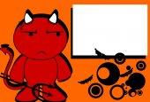 Devil halloween cartoon background card0 — Vecteur