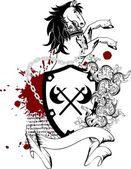 Heraldic horse coat of arms crest tattoo3 — Stock Vector