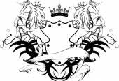 Araldico del cavallo unicorno stemma crest tattoo3 — Vettoriale Stock