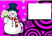 Snow man cartoon xmas background card02 — Stock Vector