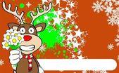 Xmas reindeer cartoon expression background04 — Stockvektor