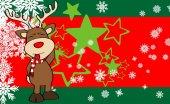 Rena de Natal desenhos animados background02 expressão — Vetor de Stock