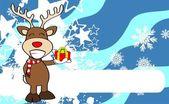 Xmas reindeer cartoon expression background7 — Stock Vector