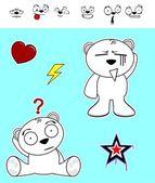 Little polar bear cartoon set5 — Stock Vector
