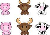 Cute baby animals cartoon set3 — Stock Vector