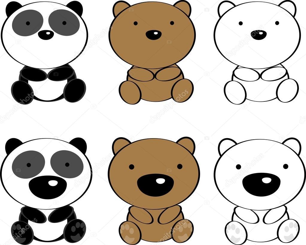 Zoológico De Animais Bebê Dos Desenhos Animados Vetor: Conjunto De Desenhos Animados De Animais De Ursos Bebê