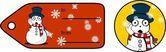 Snowman cartoon xmas giftcard sticker set1 — Stock Vector