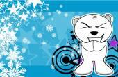 Polar teddy bear cartoon xmas background0 — Stock Vector