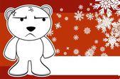 Polar teddy bear cartoon xmas background9 — Stock Vector