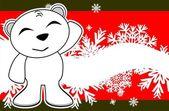 Polar teddy bear cartoon xmas background8 — Stock Vector