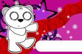 Polar teddy bear cartoon xmas background6 — Stock Vector