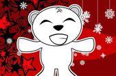 Polar teddy bear cartoon xmas background4 — Stock Vector