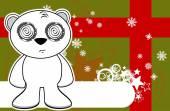 Polar teddy bear cartoon xmas background3 — Stock Vector