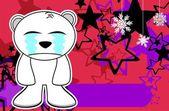 Polar teddy bear cartoon xmas background2 — Stock Vector