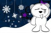 Polar teddy bear cartoon xmas background1 — Stock Vector