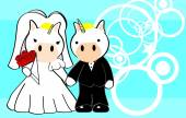 Unicorn married cartoon background — Stockvector