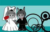 Donkey married cartoon background — Stock Vector