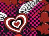 Winged heart love background6 — Stockvector
