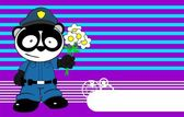 Panda bear cop cartoon background card9 — Stock Vector
