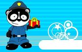 Panda bear cop cartoon background card5 — Stock Vector
