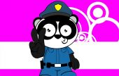 Panda bear cop cartoon background card1 — Stock Vector