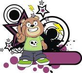 Kid teddy bear cartoon happy — Stock Vector
