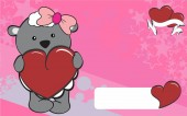 Sheep girl cartoon love  heart  background — Stockvektor