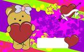 Porcupine girl cartoon love  heart  background — Stock Vector
