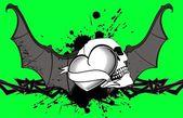 Heart winged bat skull tattoo background9 — Stock Vector