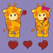 Cute giraffe love cartoon valentine set — Stock Vector