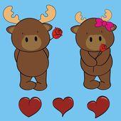 Cute reindeer love cartoon valentine set — Stock Vector