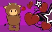 Sweet bull cartoon valentine background — Stockvektor