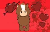 甘いキリン漫画バレンタイン背景 — ストックベクタ