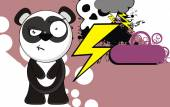 Funny panda bear cartoon expression background2 — Stockvektor
