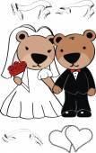 Cute teddy bear married cartoon — Stock Vector