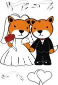 Cute fox married cartoon — Stock vektor