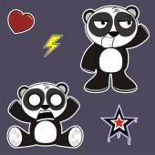 Little panda bear cute expressions cartoon set01 — Stock Vector