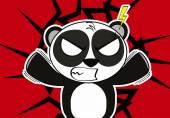 Angry panda bear cute cartoon expression background — Stock Vector