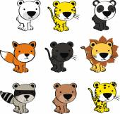 Cute baby animals cartoon set — Stockvektor
